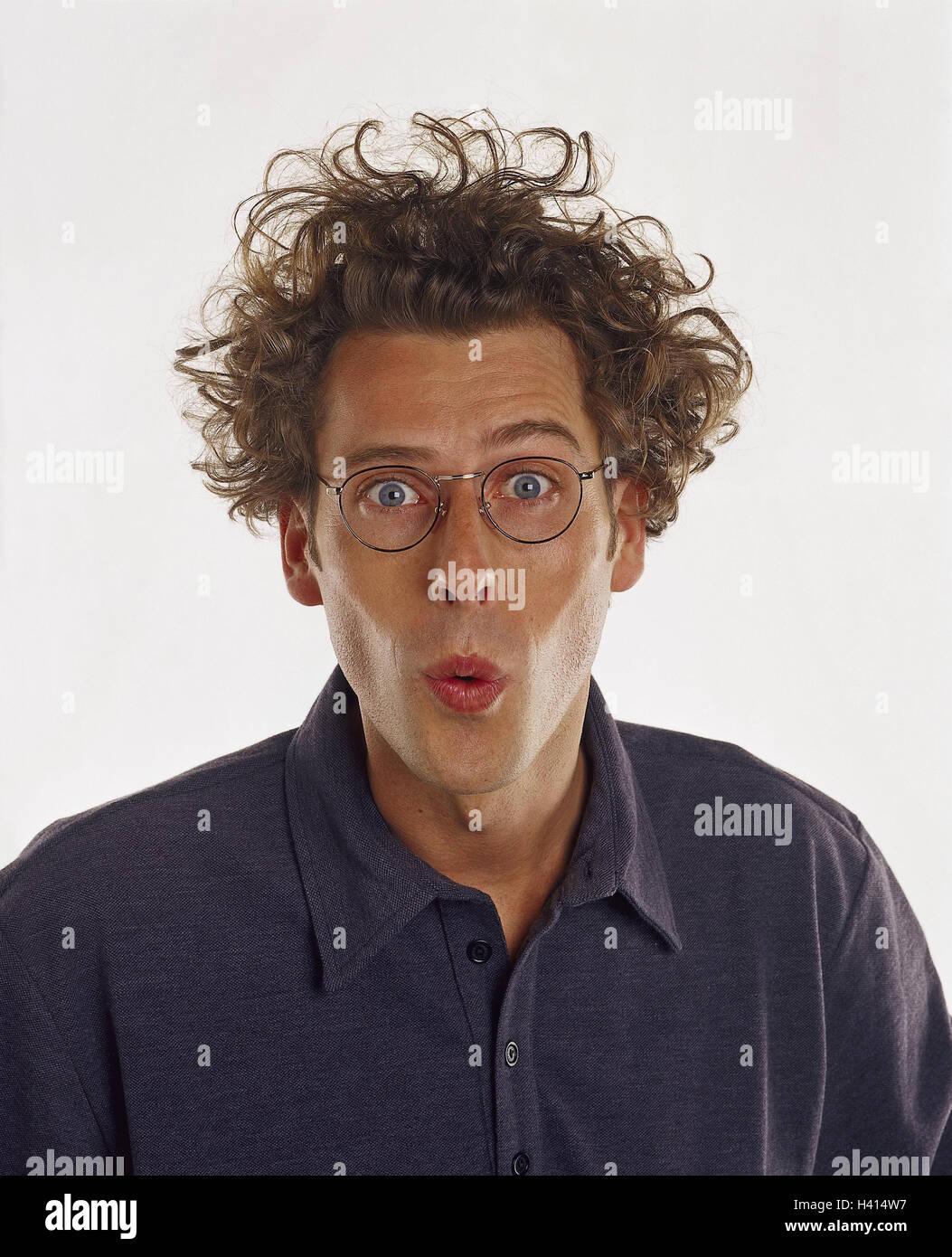 Mann Jung Brille Locken Mimik Ist überrascht