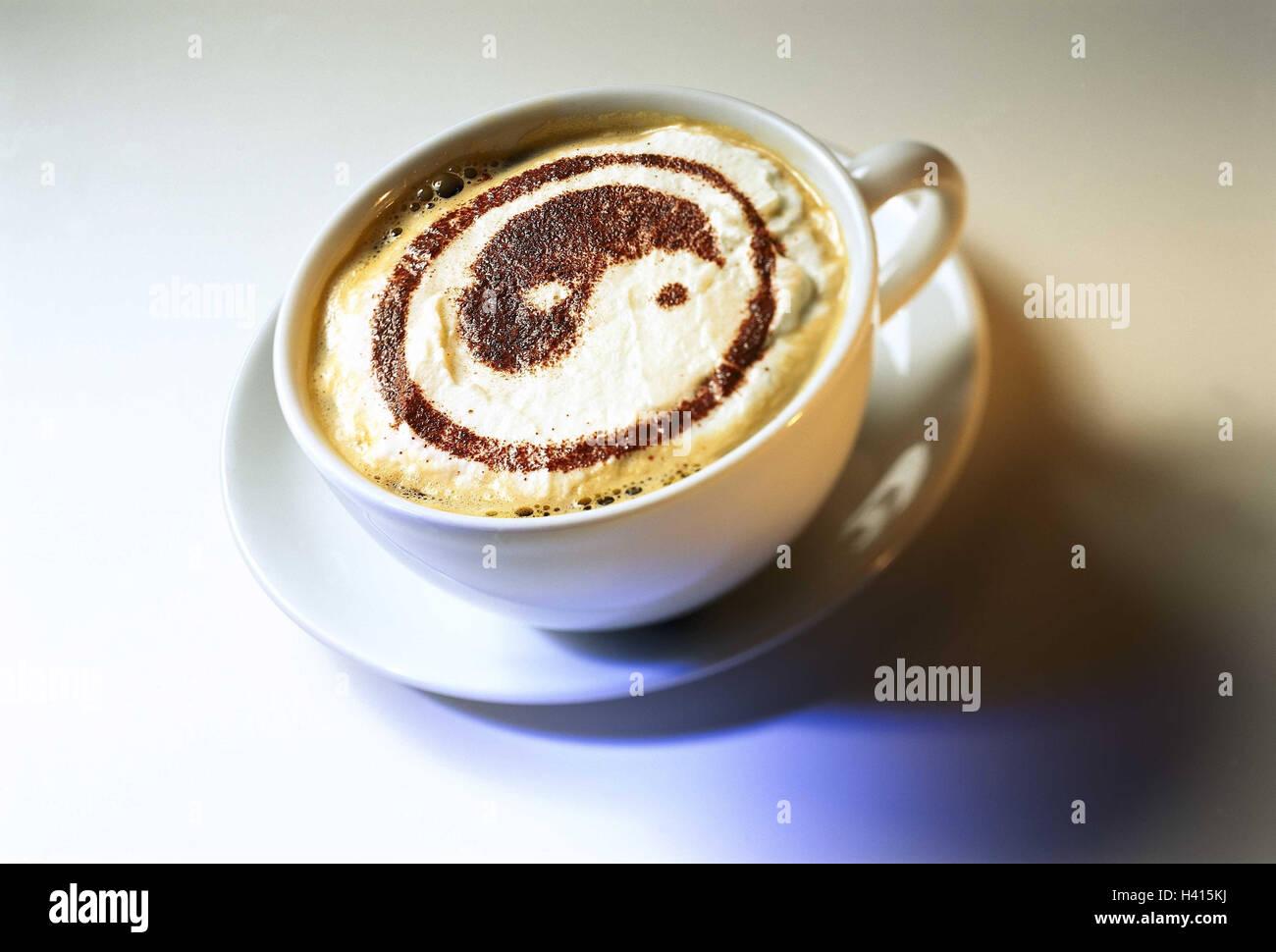 Tasse, Cappuccino, Milchschaum, Yin und Yang Kaffee, Kaffee trinken ...