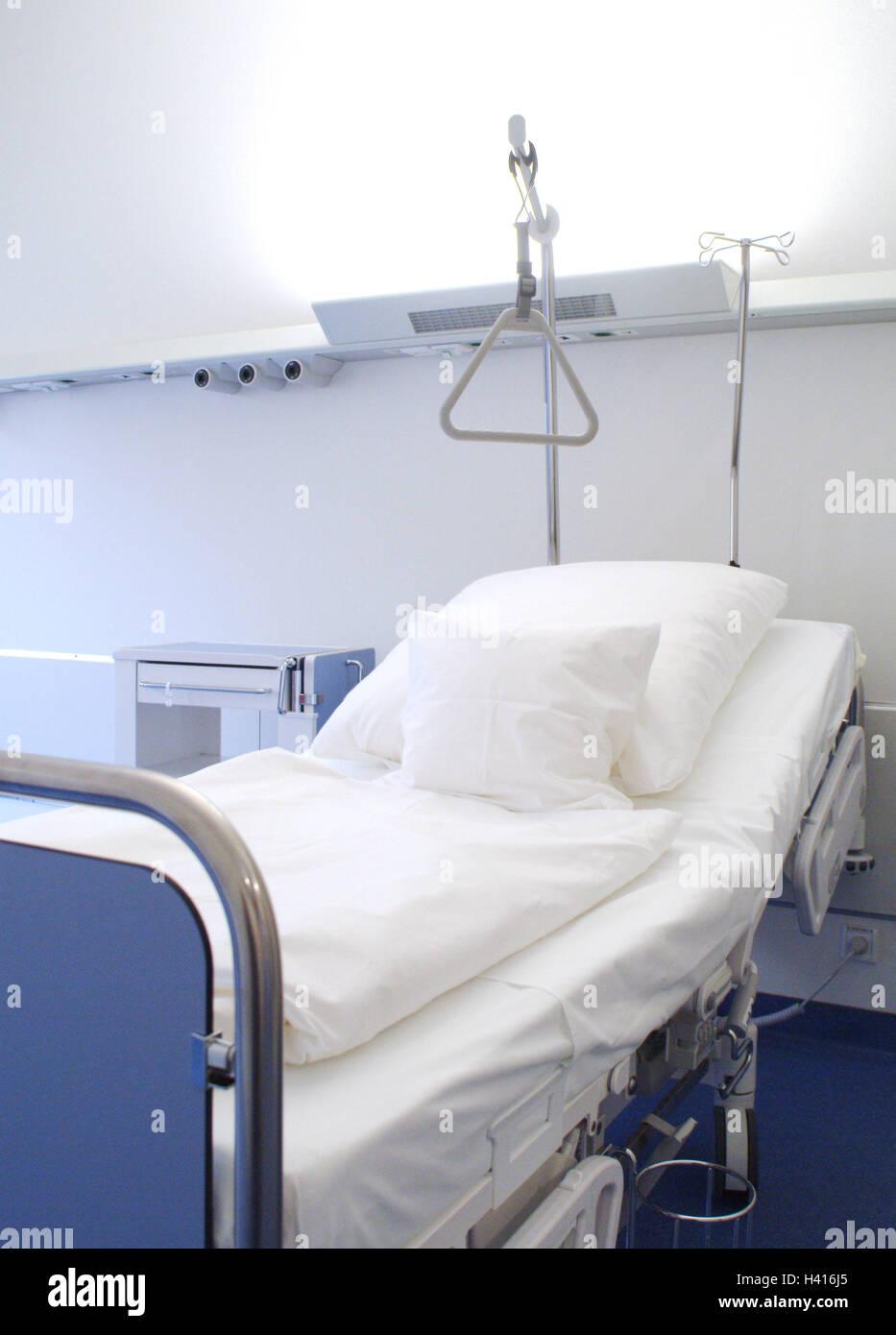 klinik, ward, bett, leer, nachttisch tisch krankenhaus, zimmer