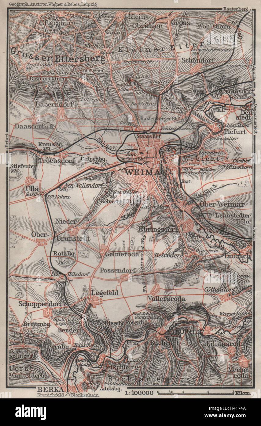 Karte Weimar Und Umgebung.Weimar Umgebung Umgebung Thuringen Baedeker 1910 Alte