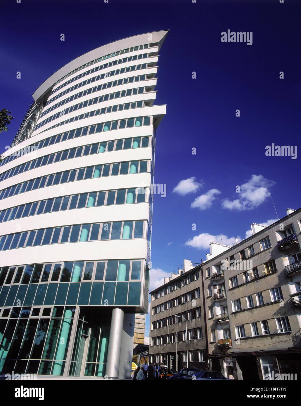 ... Hochhaus, Bürogebäude, Wohnhäuser, Architektur, Kontrast Warszawa,  Hauptstadt, Bürohochhaus, Hausfassaden, Fensterfront, Architektonischen  Stil, Modern, ...