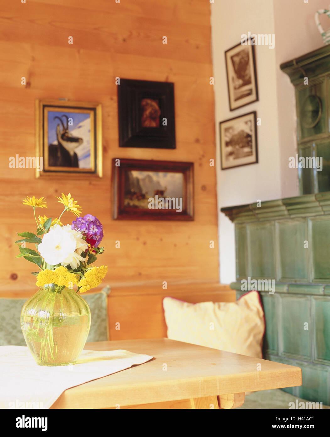 Wohnraum, Kachelofen, Detail, Zimmer, Bauernstube, Küche, Wohnraum ...
