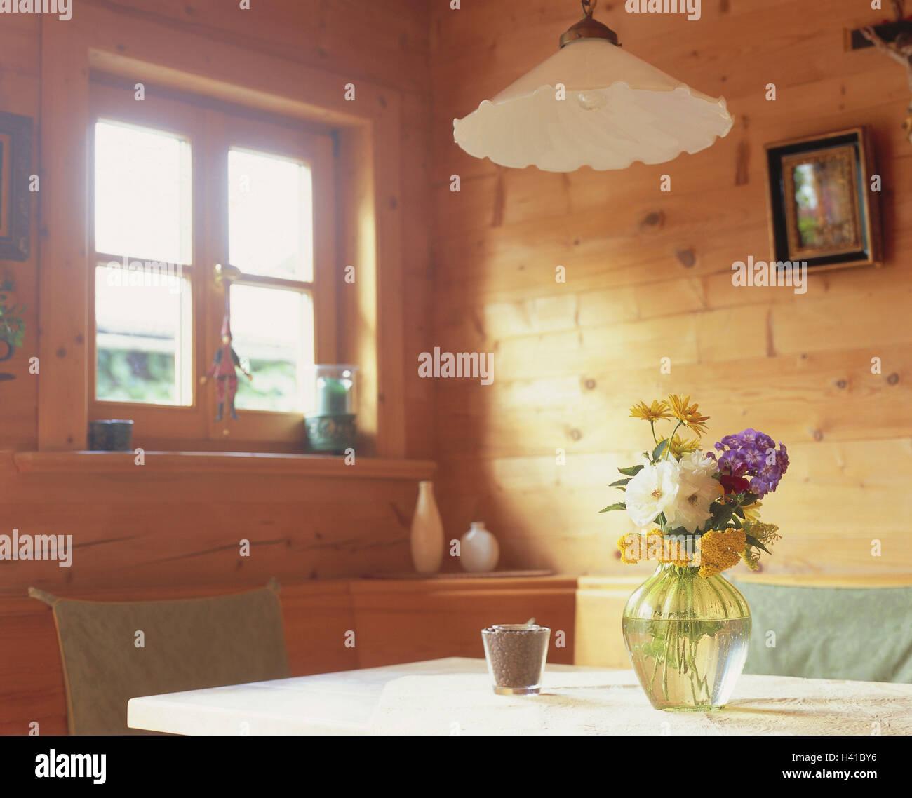 wohnraum detail tisch vase blumenzimmer bauernstube kche