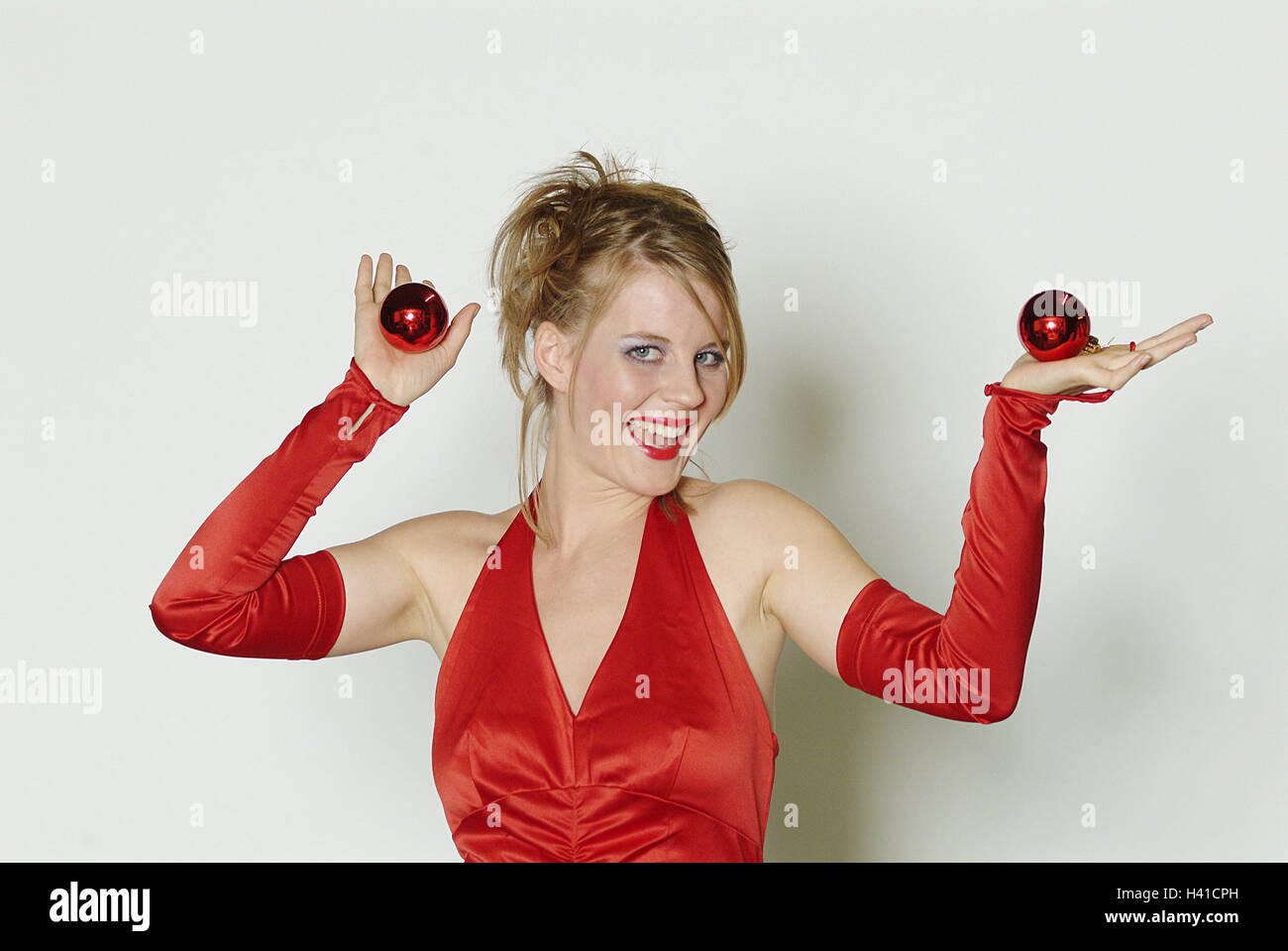 Frau Abendkleid Kurzarm Tops Geste Weihnachtsbaum Kugel Tanz