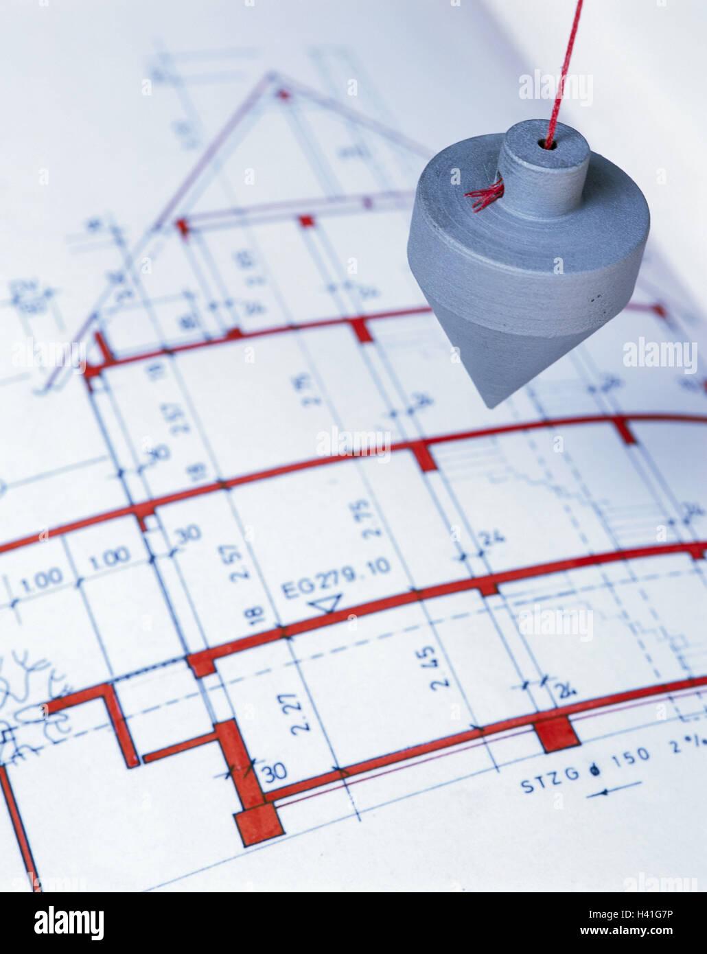 Plan Des Architekten, Senkblei, Bau Ein Haus, Eigenheim, Bau, Planung,  Plan, Zeichnung, Hoch Und Tiefbau, Abonnement, Masse, Statik, Bauen,  Messtechnik, ...