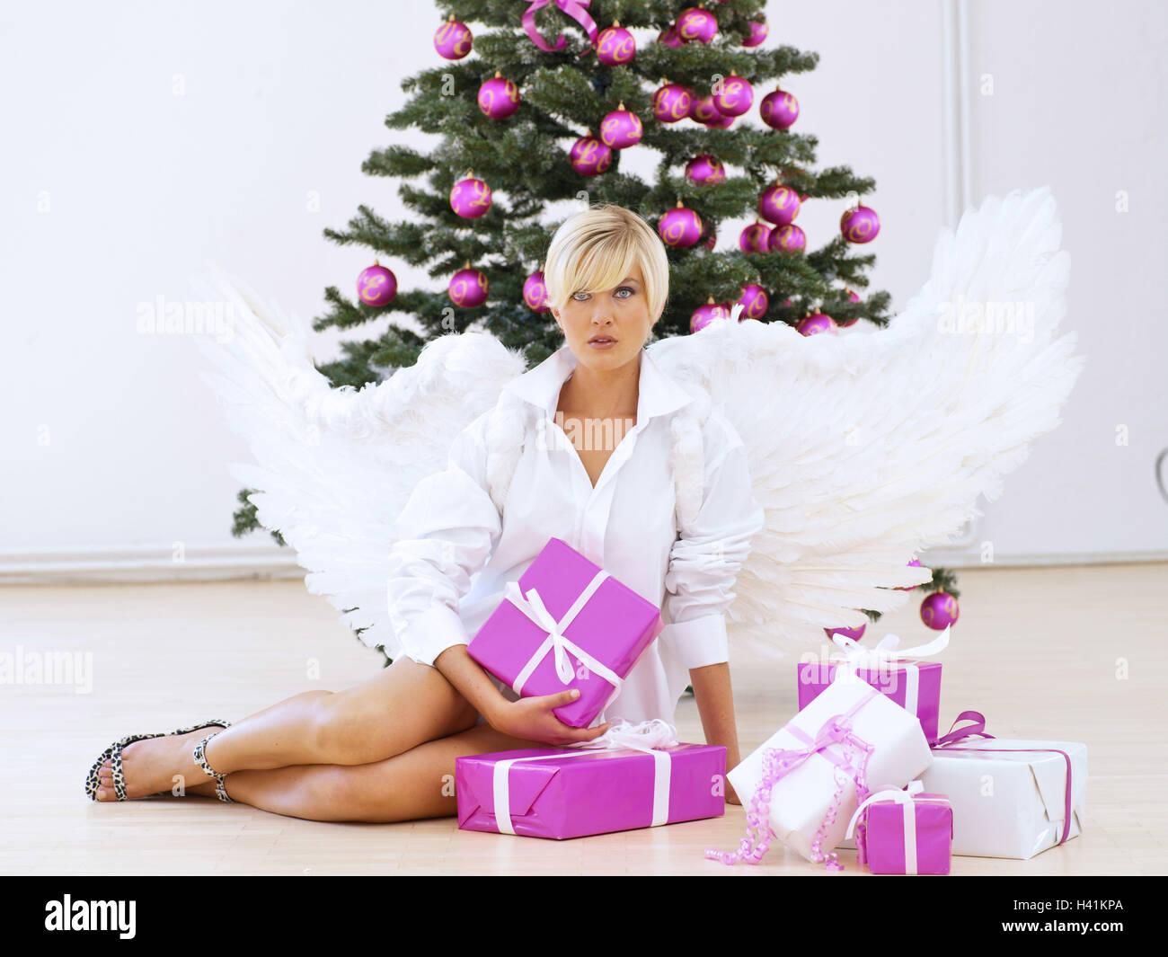 Frau, Engels-Flügel, ernst, Geschenke, Weihnachtsbaum Engel ...