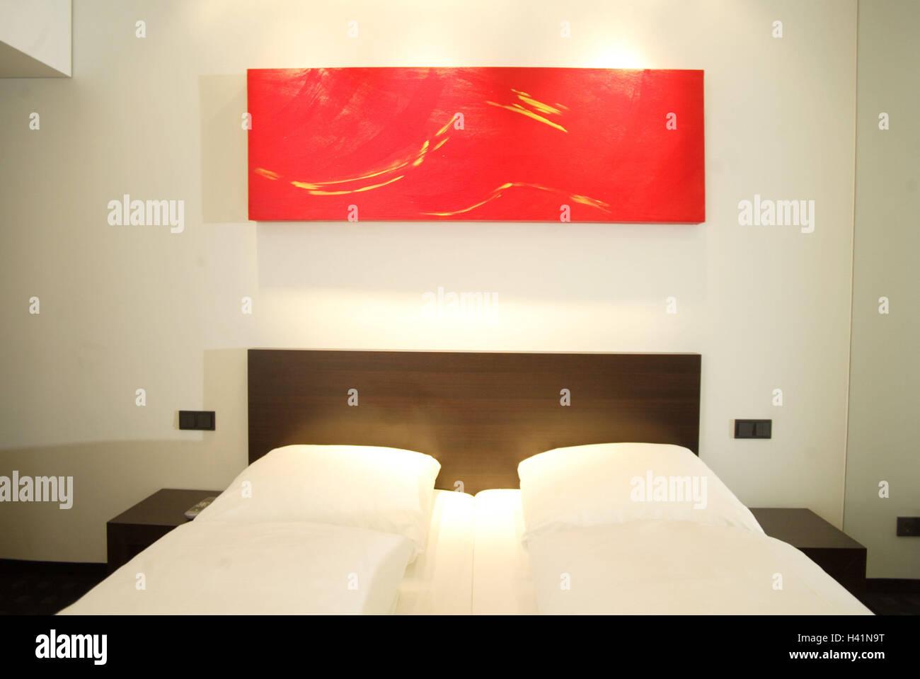 Schlafzimmer, Doppelbett, Wand, Bild, rot, innen geschossen, Zimmer ...