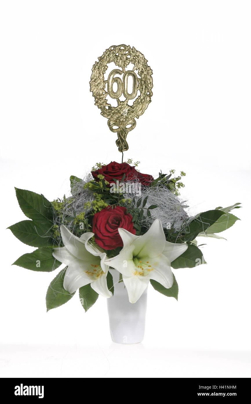Vase Blumenstrauss Jubilaumszahl 60 Goldene Blumenvase Bundel