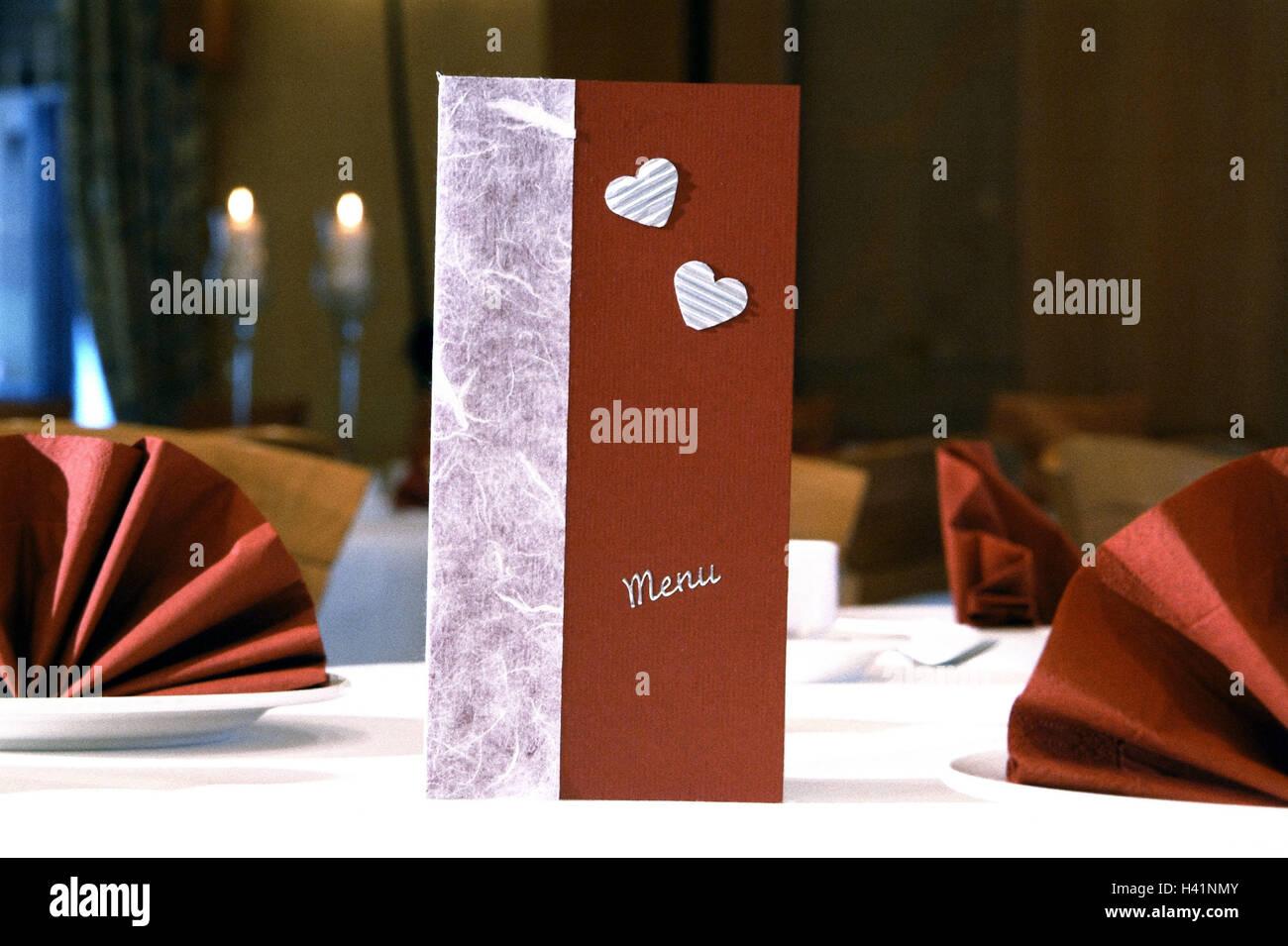 Restaurant Gastronomie Einrichtung Tisch Bedeckt Menukarte