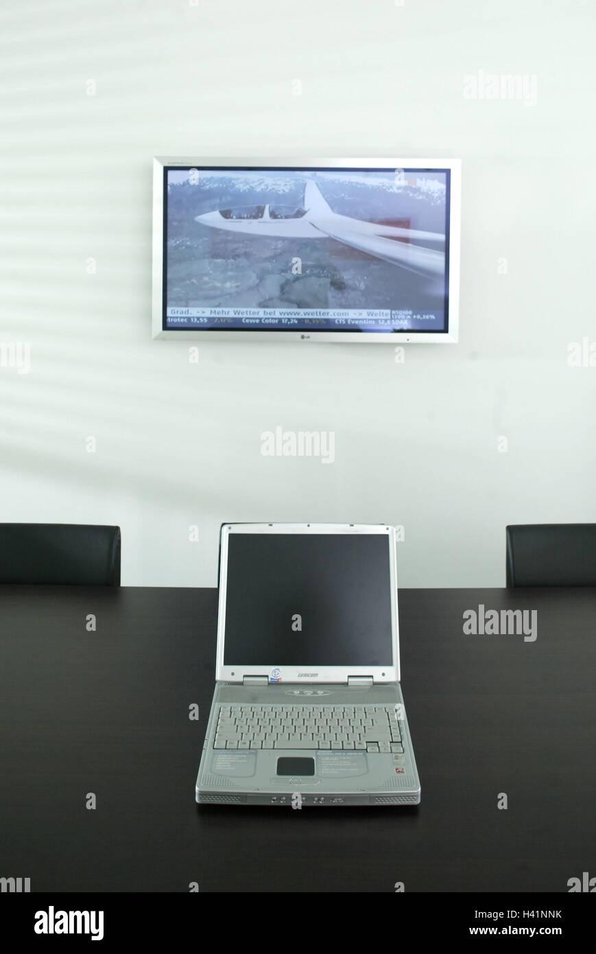 Treffen Konferenztisch Laptop Wand Flachbild Tv Konferenzraum
