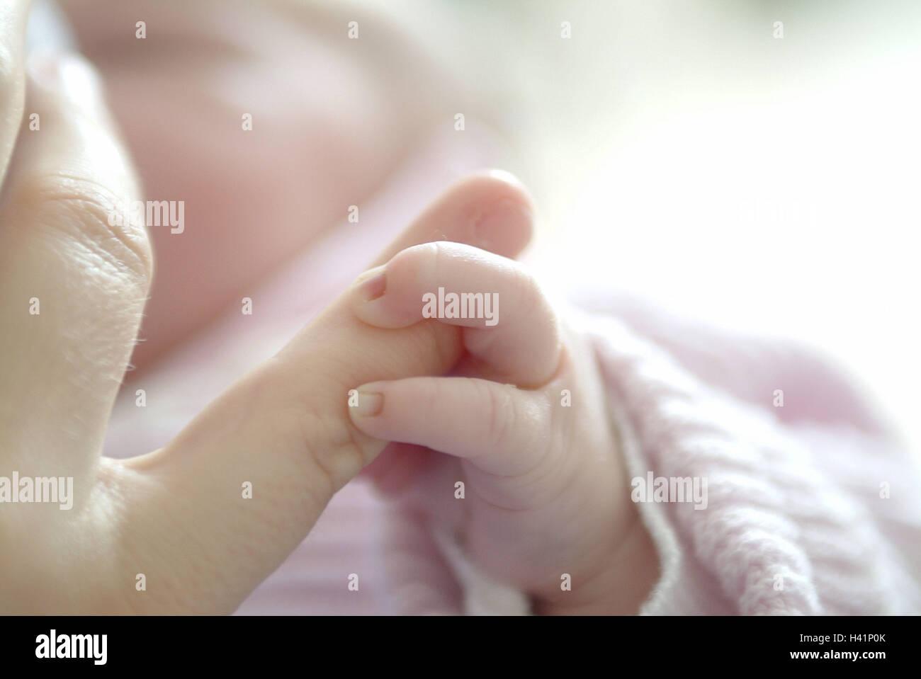 Mutter, Detail, Finger, Baby, Touch, Unschärfe erweckten, Hand, Lebens-Abschnitt, Kindheit, Kind, Säugling, Stockbild