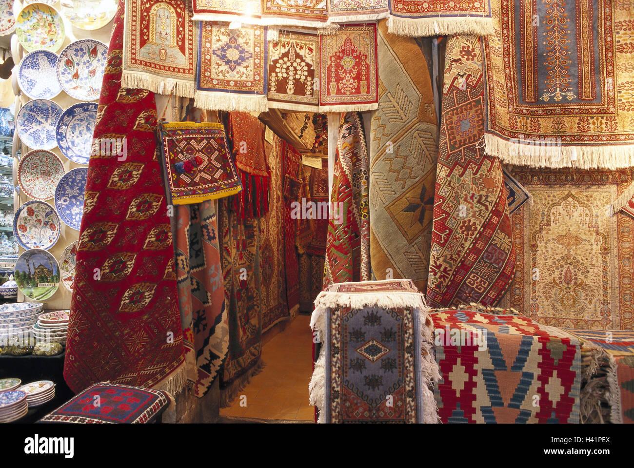 Teppichhändler  Türkei, Istanbul, großer Basar, Teppich-Geschäft, Ausstellung ...