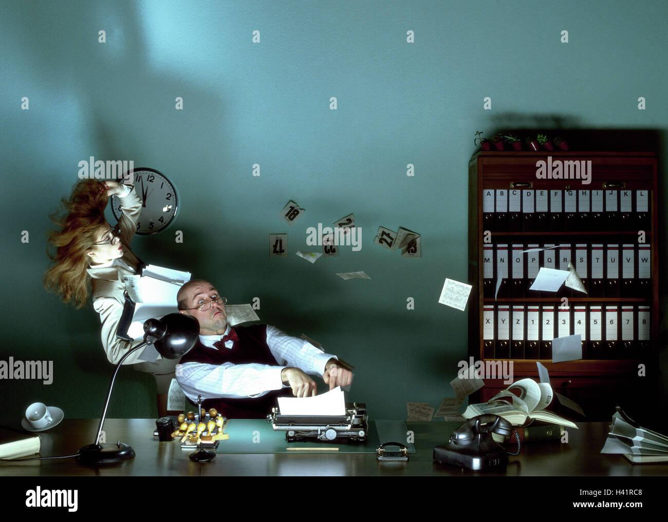 Buro Buroangestellte Schreibmaschine Sekretar Basen Chaos