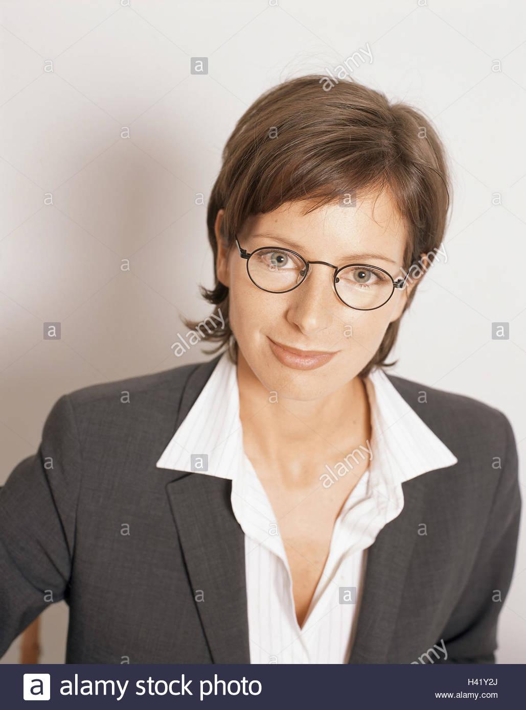 Geschäftsfrau Brille Lächeln Porträt Frauen Porträt 20 30
