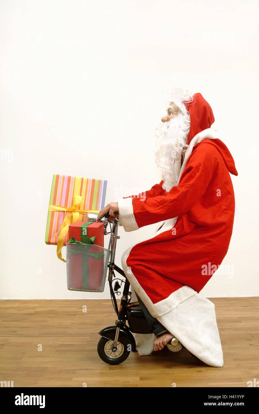 Santa Claus, Elektro-Roller, go, Korb, Geschenke, Seitenansicht ...