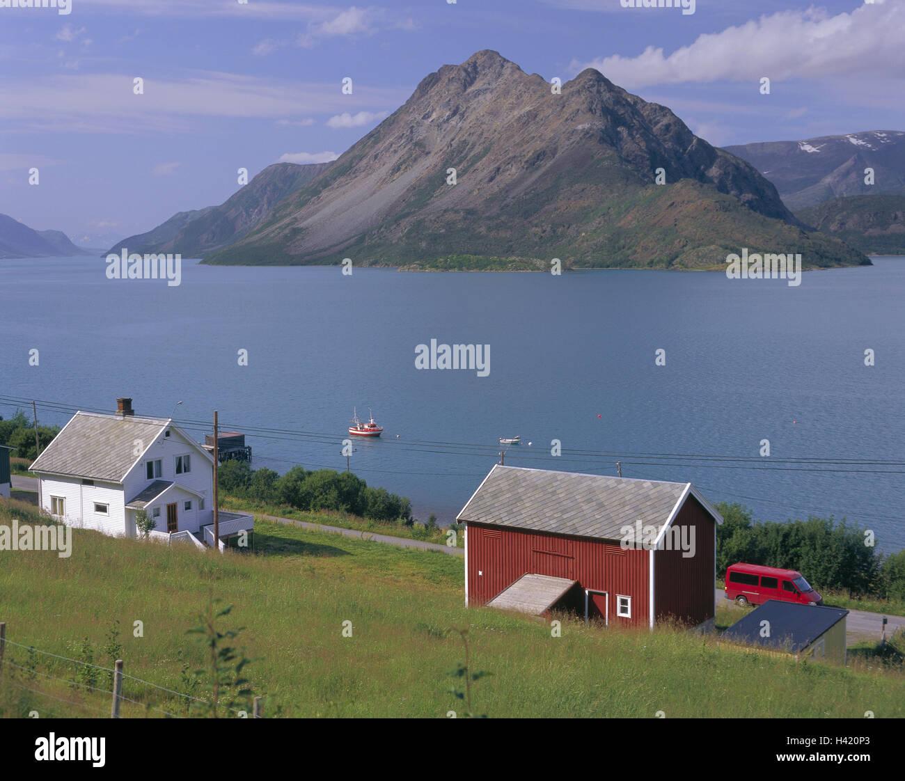 Norwegen, Troms, Fjord, Angeln, Boot, Ufer, Holz Häuser, Europa ...