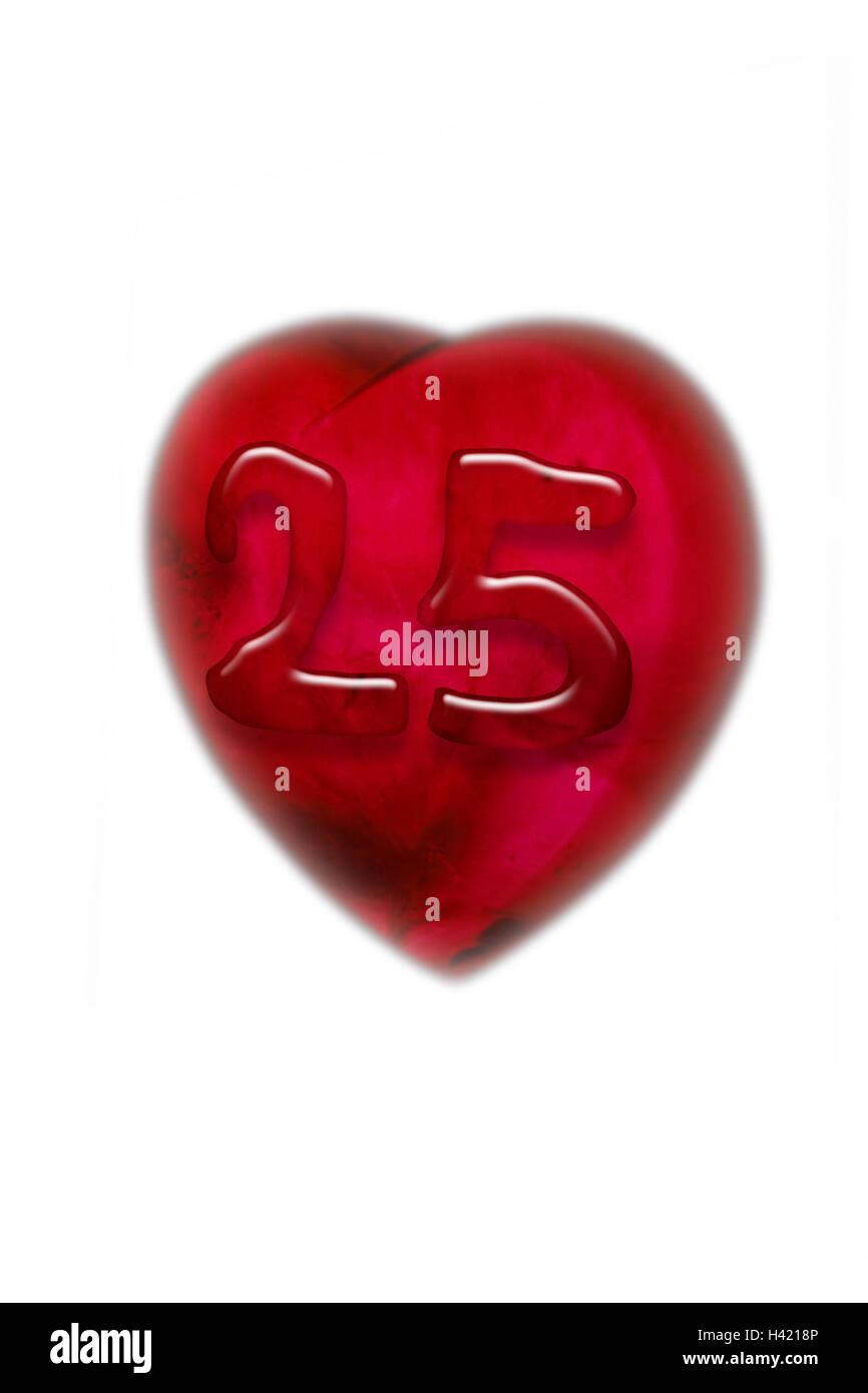 Kunststoff Herz Zahl 25 Herz Liebling Herzformig Rot 25
