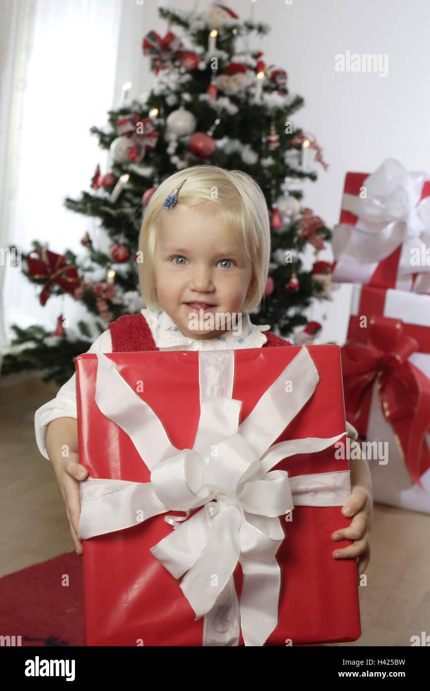 Weihnachten, Weihnachtsbaum, Bescherung, Mädchen, Geschenk, Betrieb ...