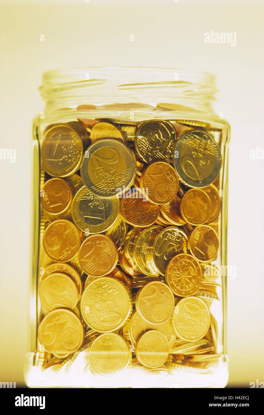Jam Jar Gefüllt Euro Münzen Geld änderung Münzen Münze Geld