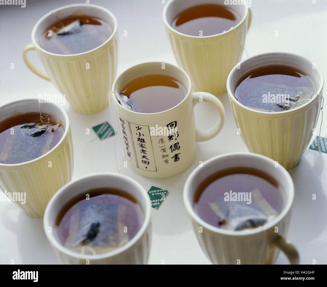 Teetassen, schwarzer Tee, Teebeutel, Drinks, Tassen, Tee, heiße ...