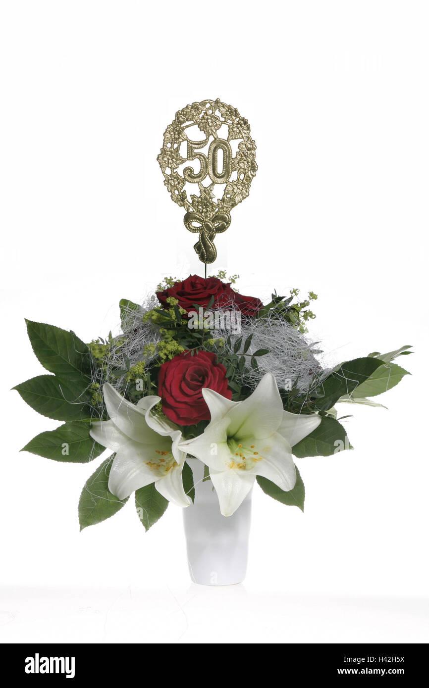 Vase Blumenstrauss Jubilaumszahl 50 Goldene Blumenvase Bundel