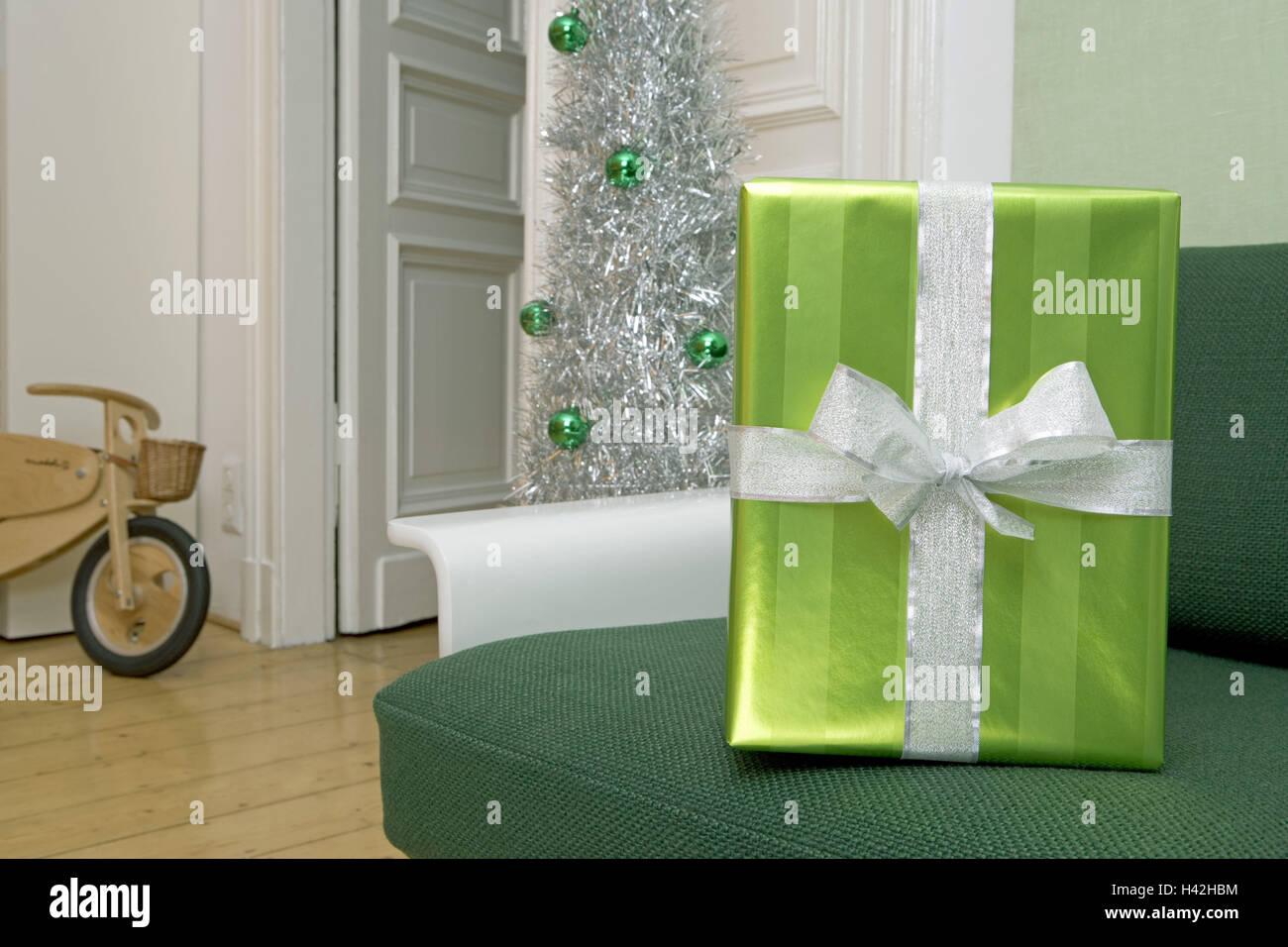 Wohnraum, Sofa, grün, Geschenk, Hintergrund, Holz-Laufrad ...