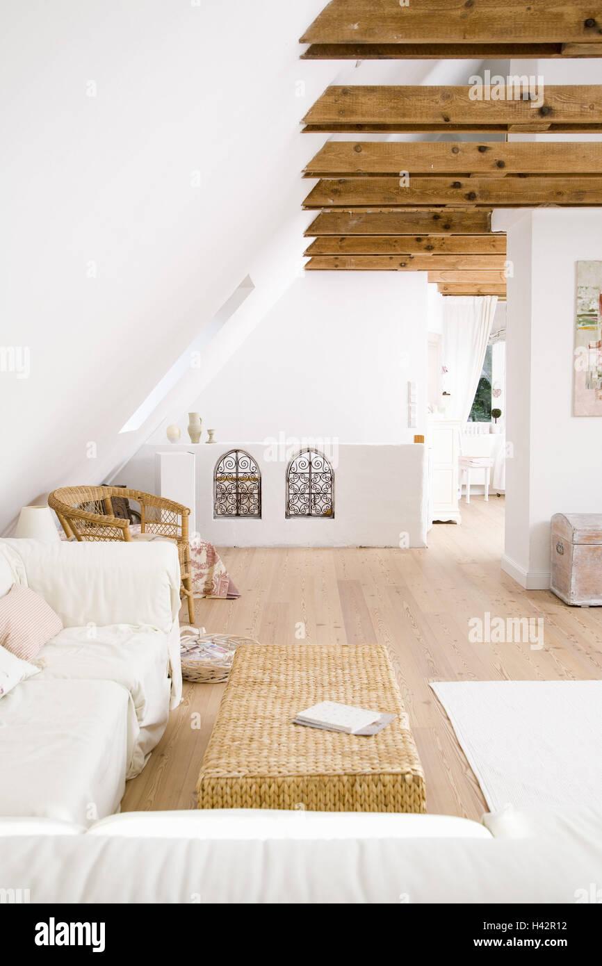 Penthouse, Wohnzimmer, Couch, Dach-Geschoss, Loft, Balken, Wohnung ...