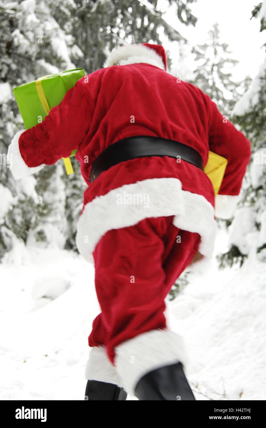 Winter Holz, Santa Claus, präsentiert, tragen, laufen zurück Blick ...