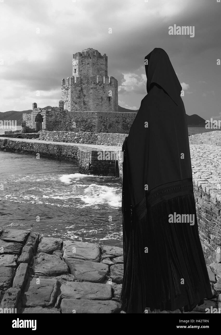 Küste, Burg, Statue, mystisch, geheimnisvoll, silhouette, s/w Stockbild
