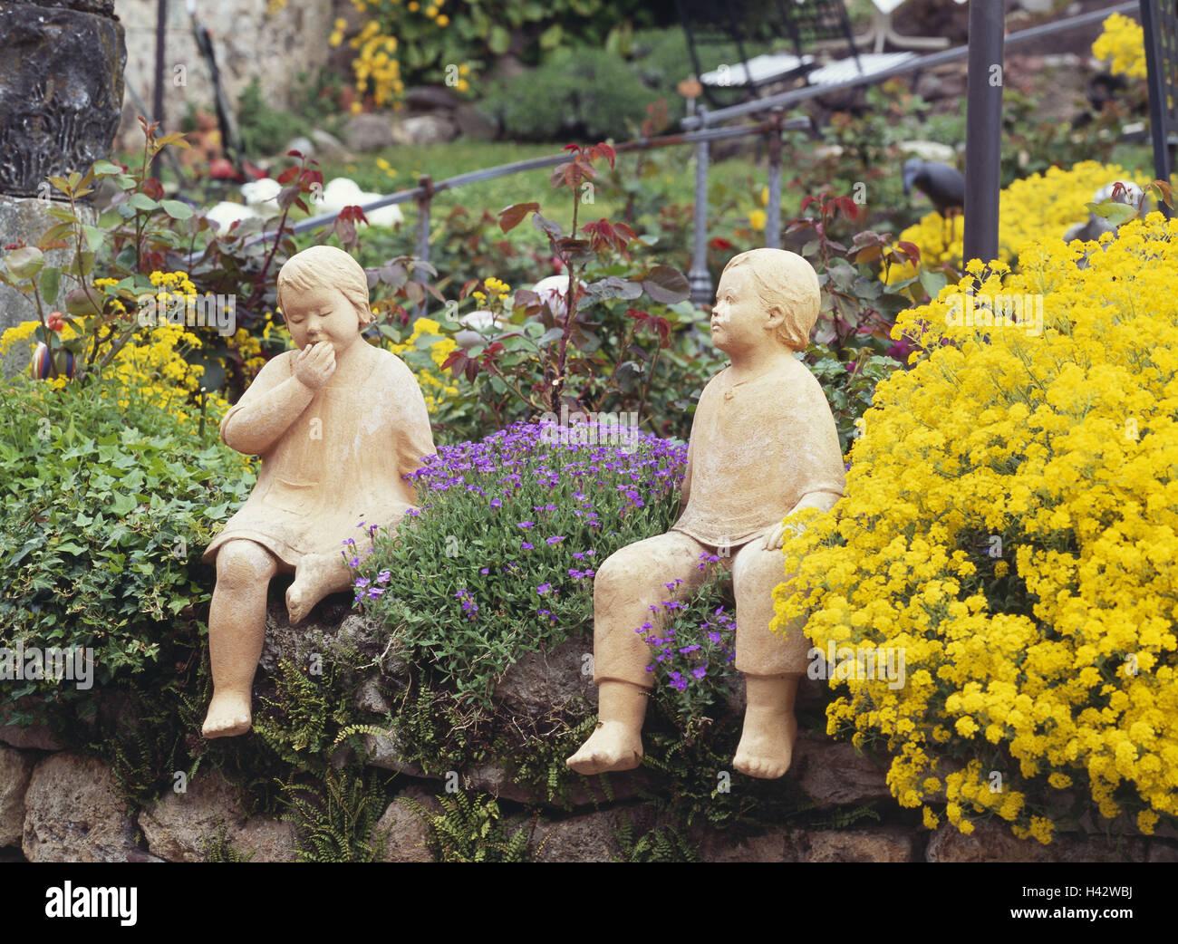 Stein Garten Blumen Gartenfiguren Kinder Mauer Mauerwerk