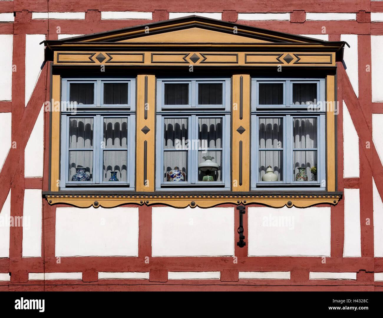 Sehr Fachwerkhaus, Fenster, detail, Deutschland, Hessen, Eschwege, Haus IM43