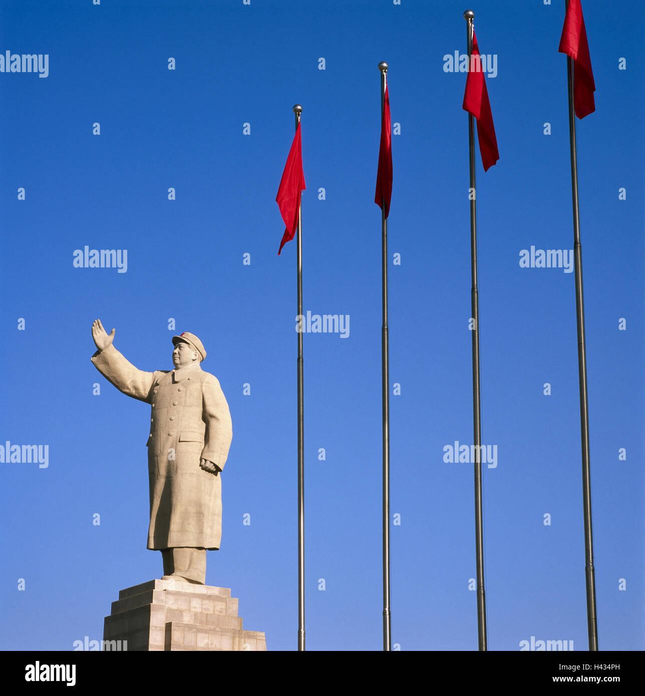 China, Region Sinkiang, Framing-sogar, Stadtzentrum, Standbild Mao ...