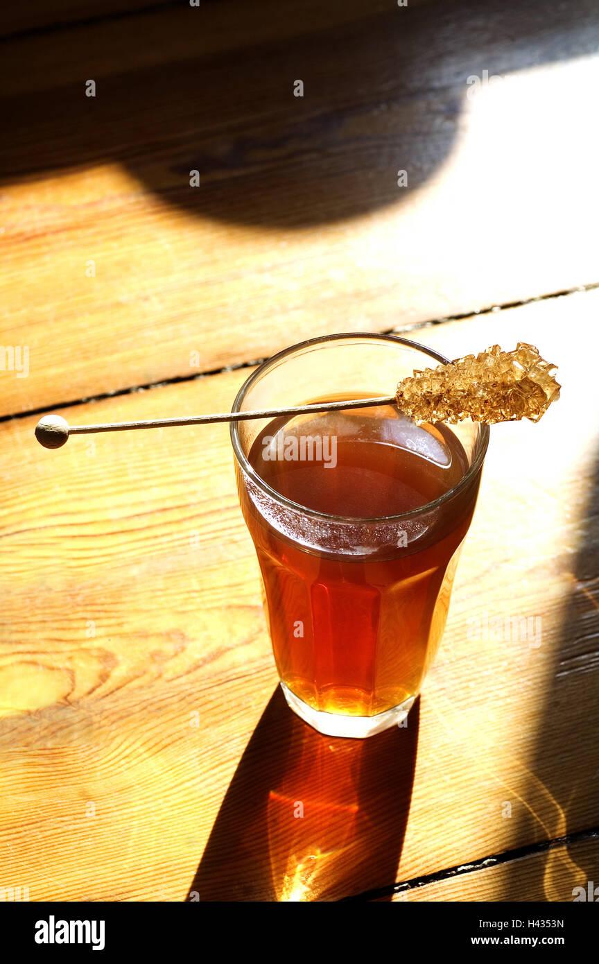 Holz-Tisch, Tee-Glas, Rock Bonbons, Glas, Tee, heiß-Getränke ...