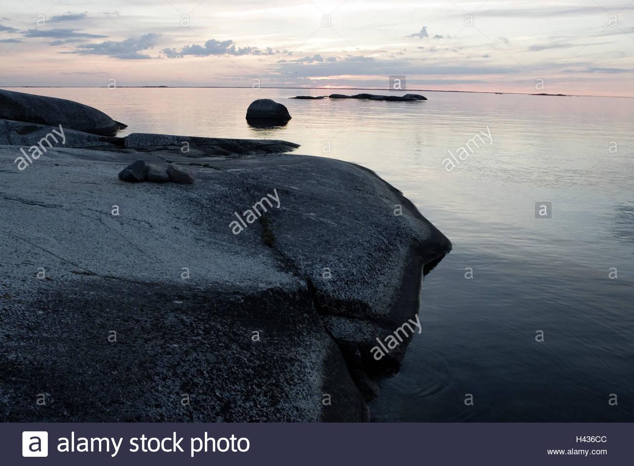 Landschaft, Schären, Stockholm, Dämmerung, Stockbild