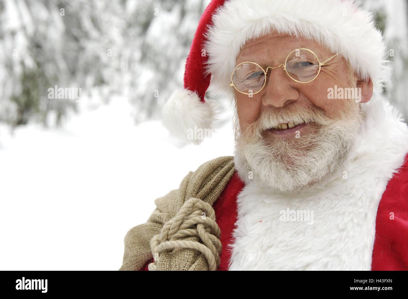 Santa Claus, Lächeln, Porträt, gewellt, Winter, draußen, Weihnachten ...