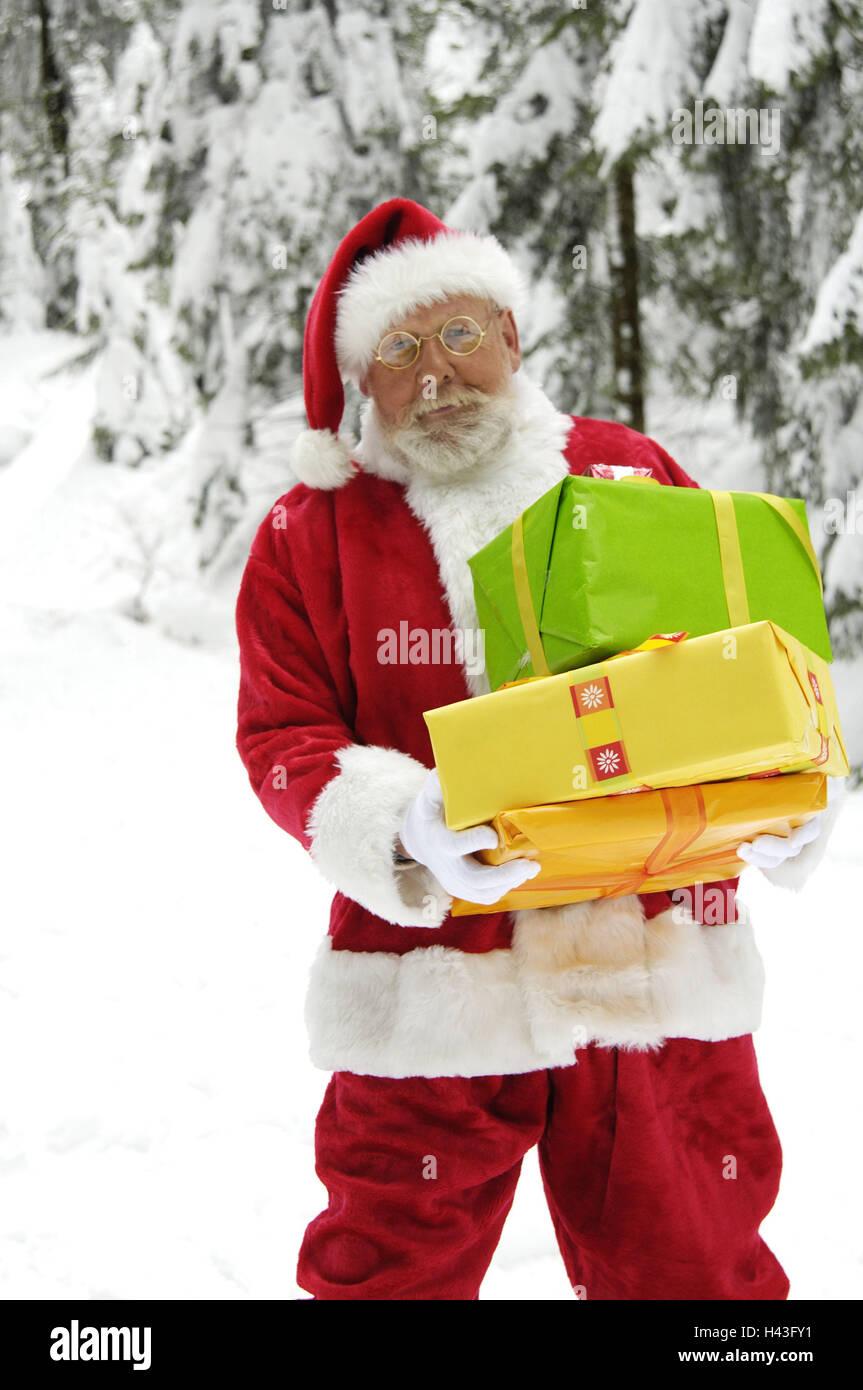 Winter Holz, Weihnachtsmann, Geschenke, tragen, Weihnachten, Leute ...