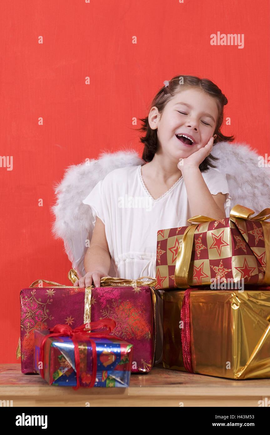 Mädchen, Engel Kostüm ist, präsentiert, Mimik, Stockbild