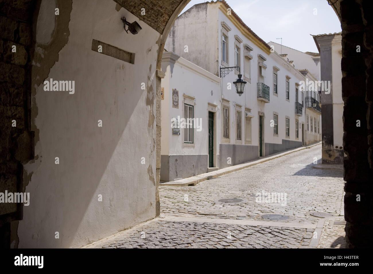Portugal, Faro, Old Town, Tür, Häuser, Stadt, Tor, Torbogen ...