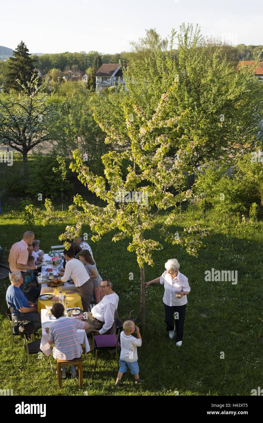 Garten, Familienfest, Sommer, von oben, Geburtstag, Geburtstag fest, Geburtstagsfeier, Feier, fest, Party, Gartenparty, Stockbild