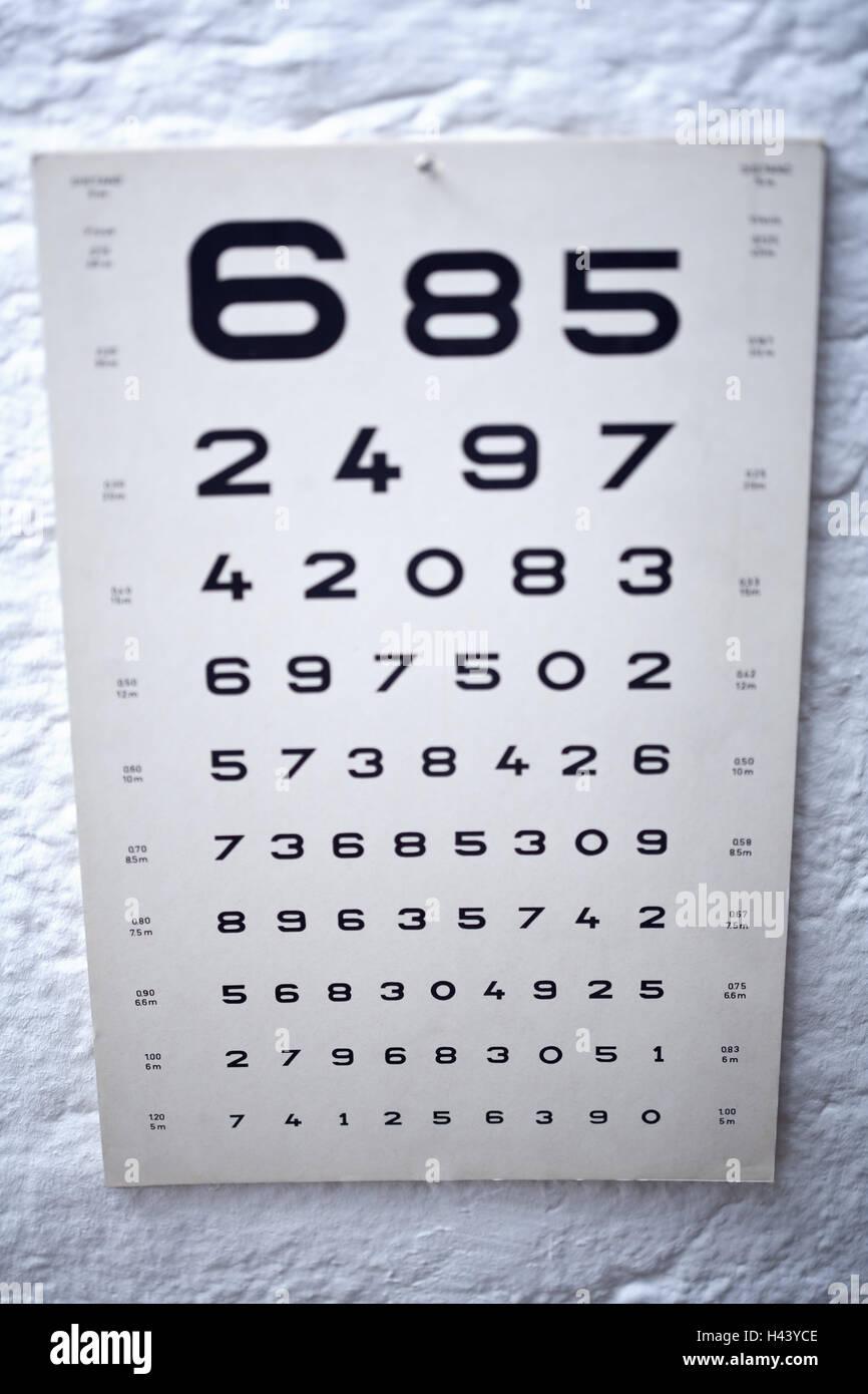 Augenarzt, Sehtest, Tafel, Abbildung Serie, Größe, anders, Unschärfe, Stockbild