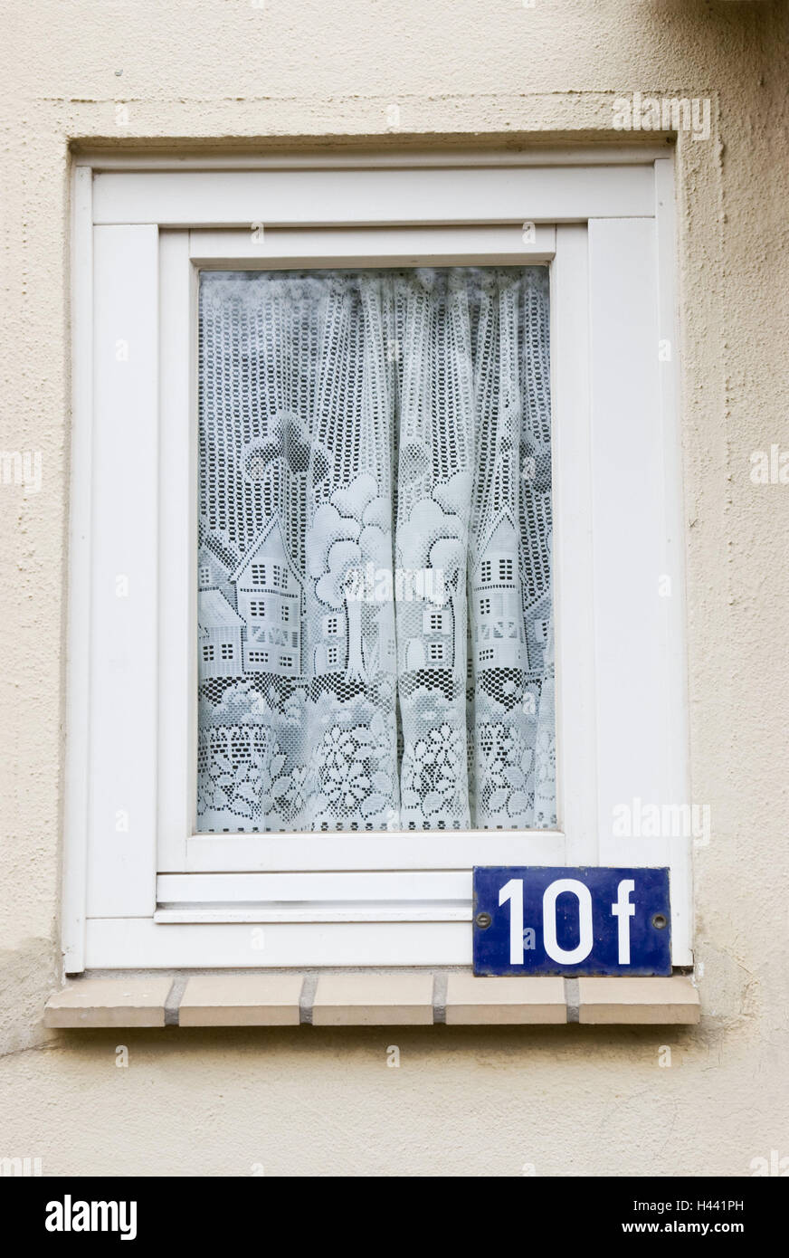 Haus, Fenster, Hausnummer, detail, draußen, außen Wand, Wand ...