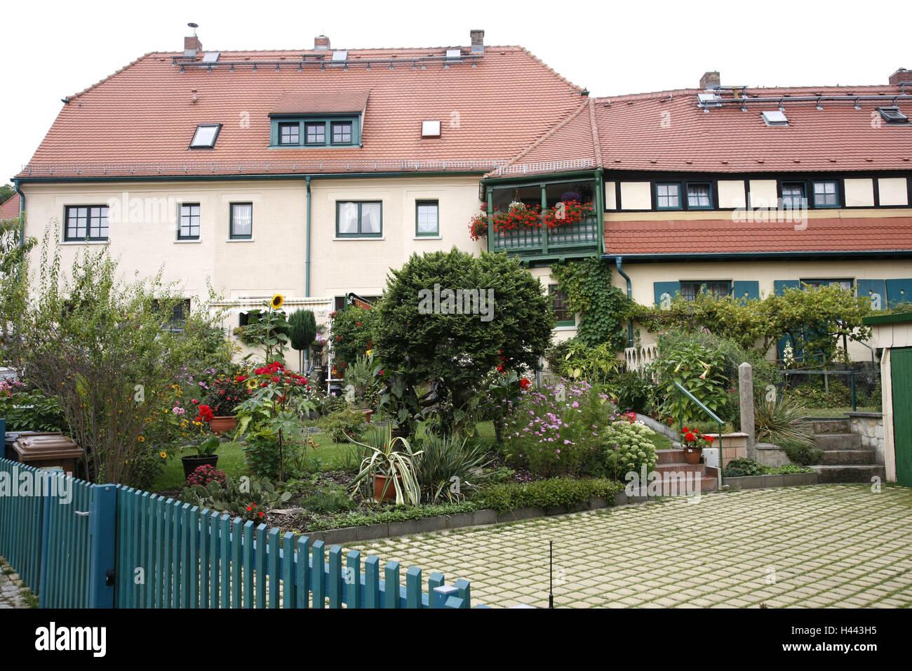 Deutschland, Sachsen, Dresden, Hellerau, Gartenstadt, Häuser, Gärten ...