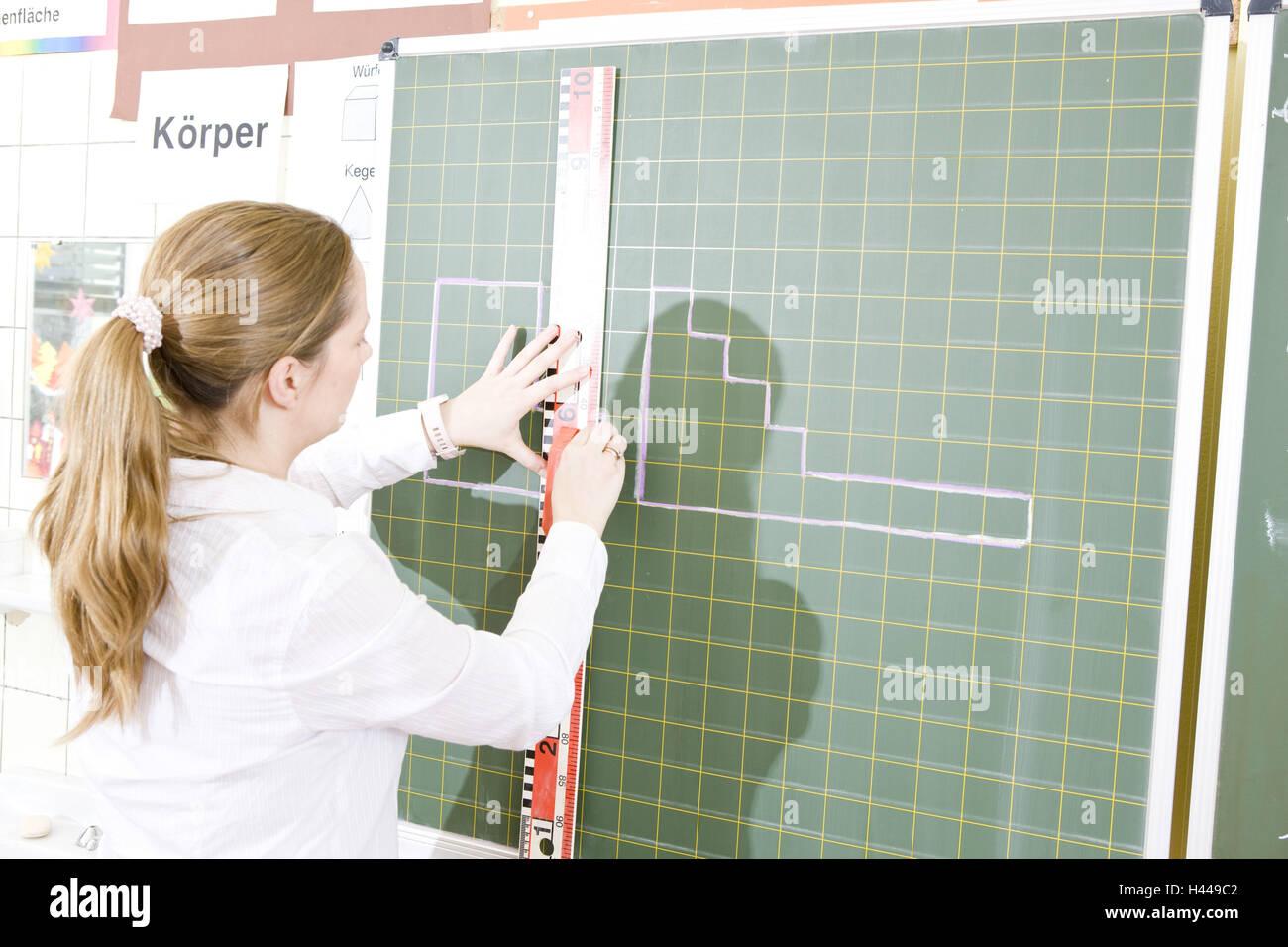 Klassenzimmer, Lehrer, Tafel, Lineal, Linien Stockfoto, Bild ...