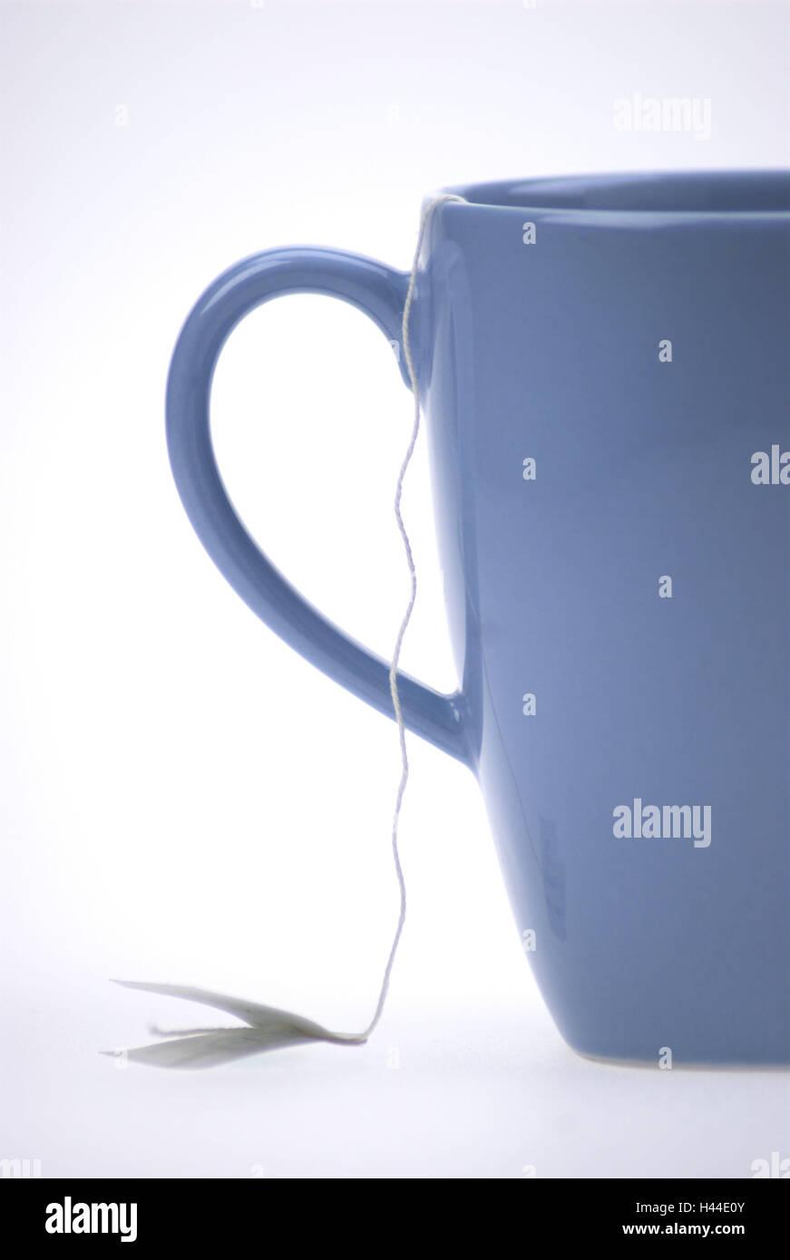 Teetasse, blau, Detail, Studio, Freisteller, Teebeutel, Tee ...