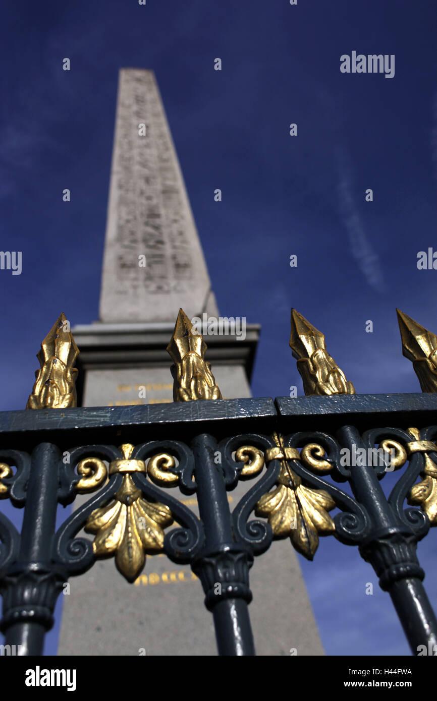 Frankreich Paris Obelisk Zaun Place De La Concorde Stadt Ort