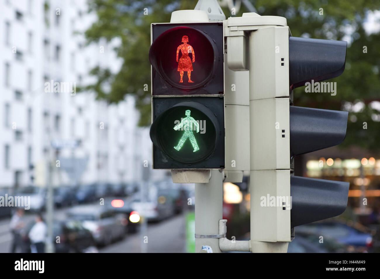Fussgangeruberweg Verkehr Licht Kleine Mann Symbol Mann Frau