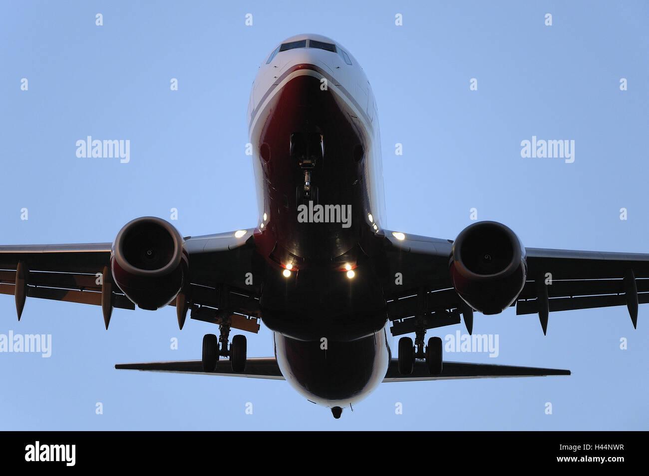 Flugzeug, Himmel, wolkenlos, Stockbild