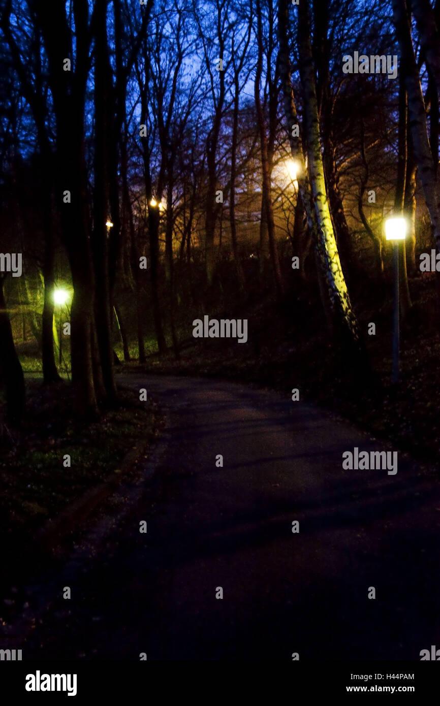Park, Weg, Laternen, Beleuchtung, Abend, Nacht, draußen, Licht ...