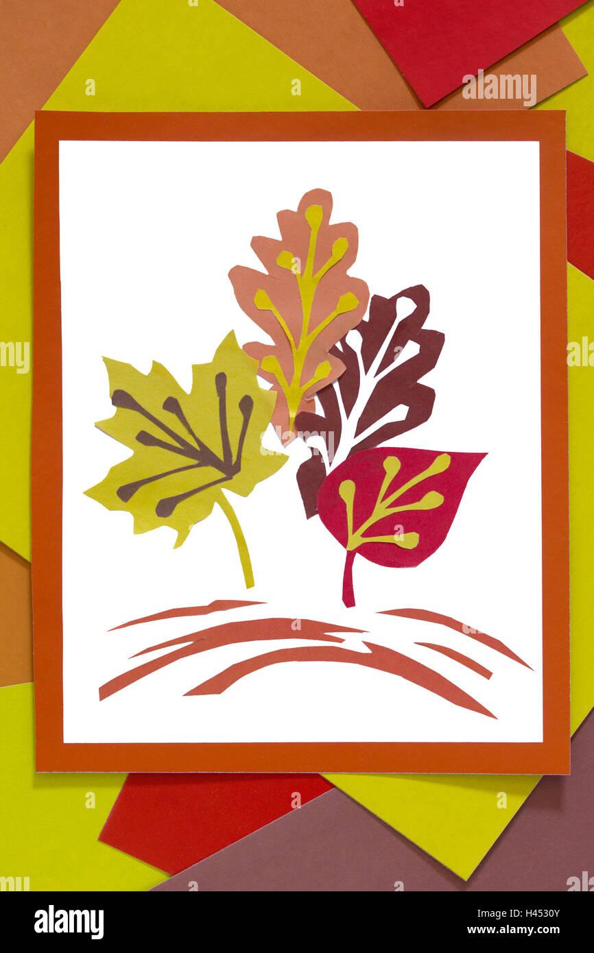 Herbstblätter Aus Farbigem Papier Eine Komposition Blatt Papier