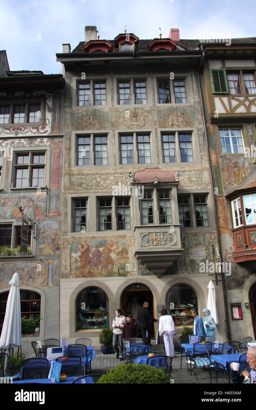 Schweiz, Stein Am Rhein, Terrasse, Fassaden, Farben, Touristen, Café, Kein  Model Release, Stadt, Altstadt, Historisch, Hobbits, Haus, Gebäude,  Architektur, ...